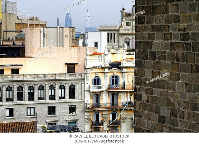 View of Barcelona from the roof of the Cathedral, Catalonia, Spain