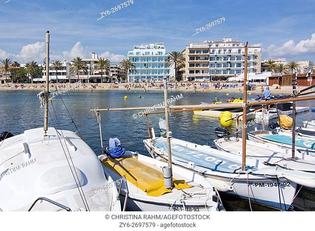 Small marina boats moored in Can Pastilla, Mallorca, Spain