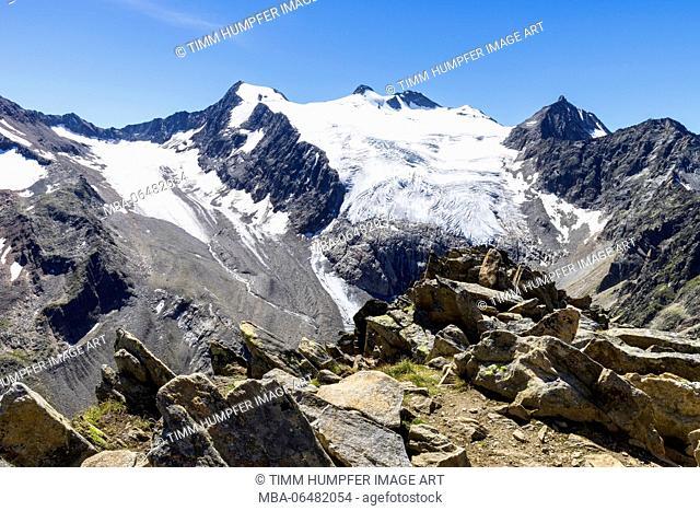 Austria, Tyrol, the Stubai Alps, Neustift, view of the Großer Trögler on the Zuckerhütl and the other Stubaier glacier summit