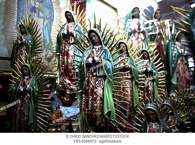 Statues of the Our Lady of Guadalupe outside the Our Lady of Guadalupe Basilica in Mexico City. Hundreds of thousands of Mexican pilgrims converged on the...