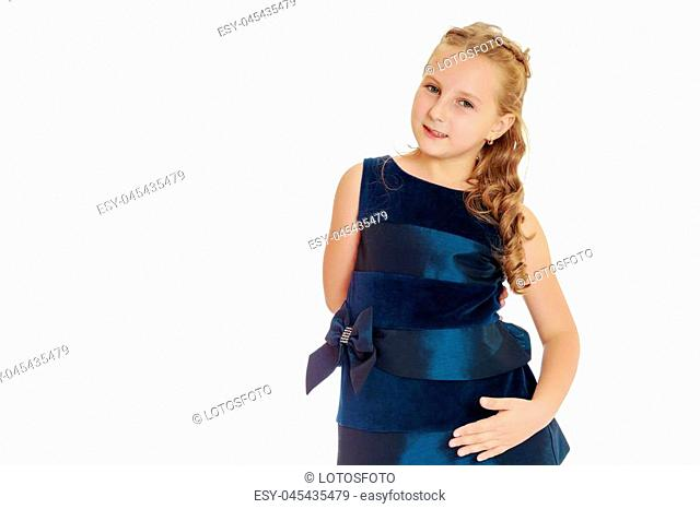 Beautiful little girl close-up. The concept of beauty and fashion, happy childhood. Isolated on white background