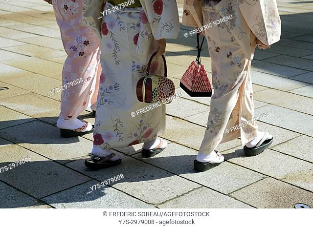 Detail of women wearing traditional japanese kimono, Kyoto, Japan, Asia