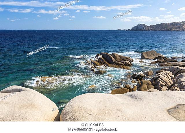 Granitic rocks of cliffs frame the turquoise sea Capo Testa Santa Teresa di Gallura Province of Sassari Sardinia Italy Europe