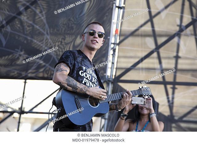 "Benjamin Mascolo of musical duo Benji e Fede performs at """"Radio Bruno Estate 2017"""". Modena (Italy), July 25th, 2017"
