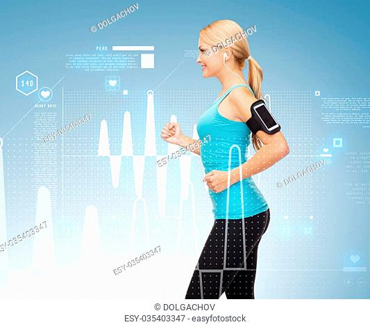 sport, excercise, technology, internet and healthcare - sporty woman running and listening to music from smartphone