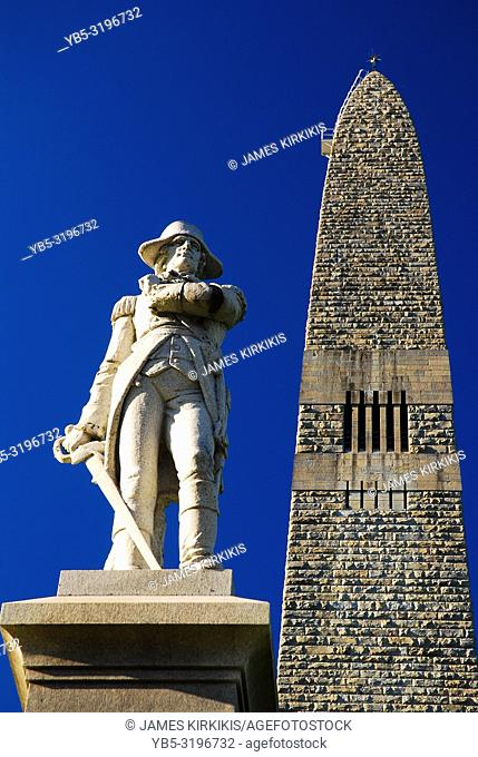 Brigadier General John Stark stands in front of the Bennington Battle Monument in Vermont