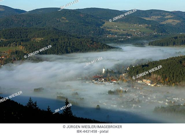 Christ the King Church in morning mist, with hills, Titisee-Neustadt, Black Forest, Baden-Wurtemberg, Germany