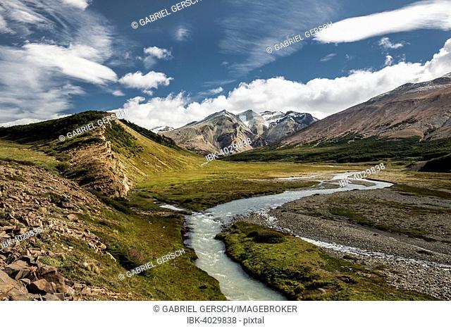 River in a valley, Sierra de las Vacas, Patagonia, Argentina