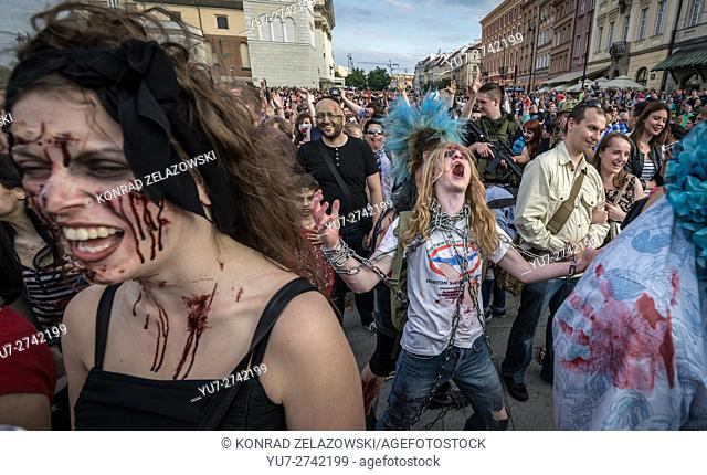 Participants of the 9th Zombie Walk on 28th of June 2015 in Warsaw, Poland