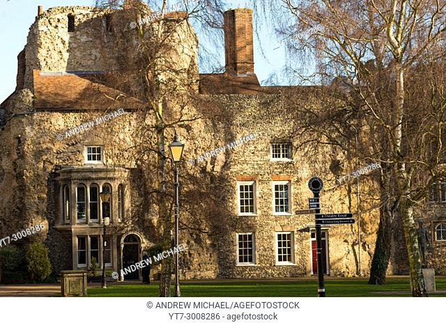 A later period house built within the ancient Abbey ruins. Bury St Edmunds, Suffolk, East Anglia, England, UK