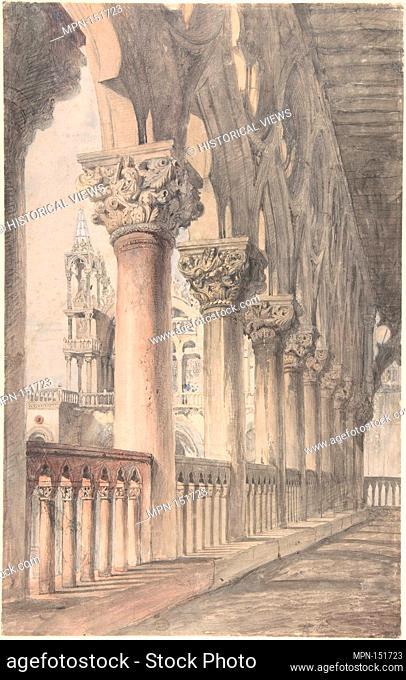 Loggia of the Ducal Palace, Venice. Artist: John Ruskin (British, London 1819-1900 Brantwood, Cumbria); Date: 1849-50; Medium: Watercolor over graphite;...