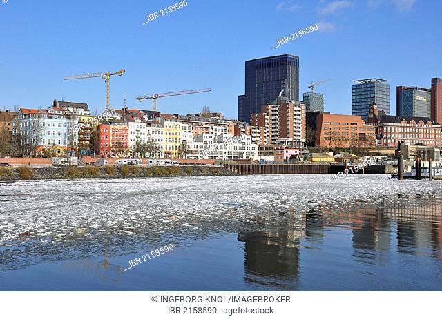 Port of Hamburg in the winter, Hamburg, Germany, Europe