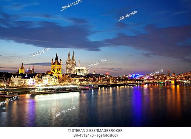 Great Saint Martin Church with Cologne Cathedral, evening dawn, Cologne, North Rhine-Westphalia, Germany