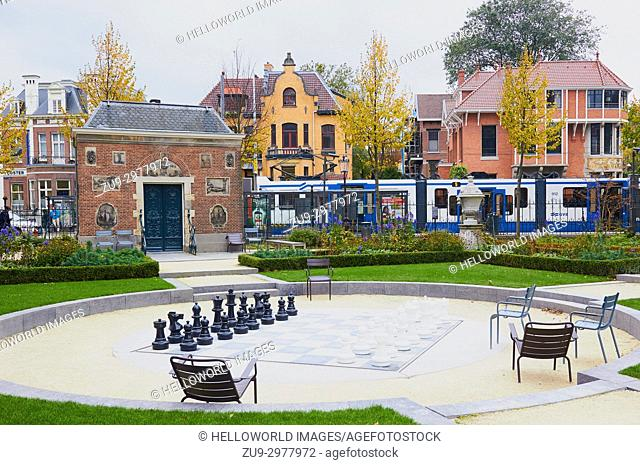 Giant chess board in Rijksmuseum Gardens, Museumplein (Museun Square), Amsterdam, Holland