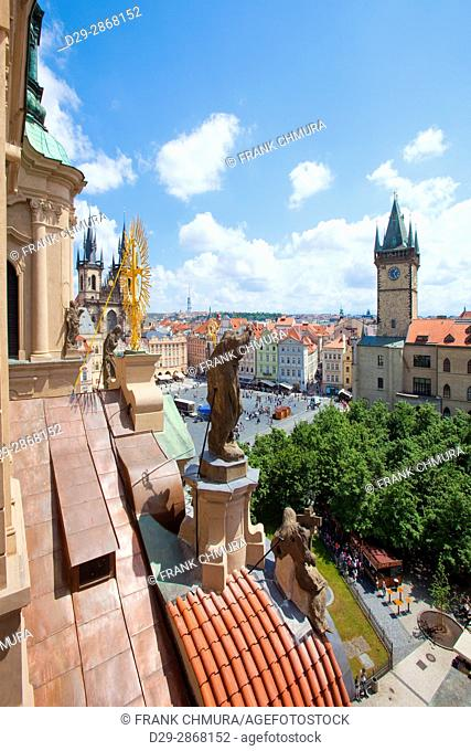 Czech Republic, Prague - Town Hall,and Tyn Church at The Old Town Square