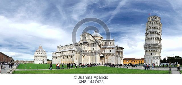 Panoramic view of Piazza dei Miracoli with the Leaning Tower of Pisa, the Duomo and the Baptistery in the background in the city of Pisa in the region of...