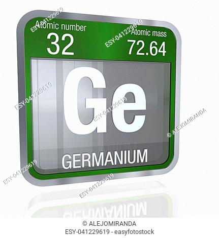 Germanium symbol in square shape with metallic border and transparent background with reflection on the floor. 3D render