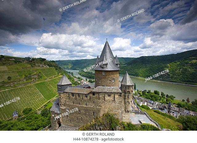 Bacharach, castle, Strahleck, Germany, Rhineland-Palatinate, town, city, castle, vineyard, river, flow, Rhine, clouds