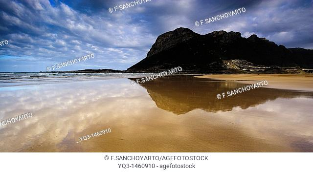 Reflections on beach, Oriñon, Castro Urdiales, Cantabria, Spain