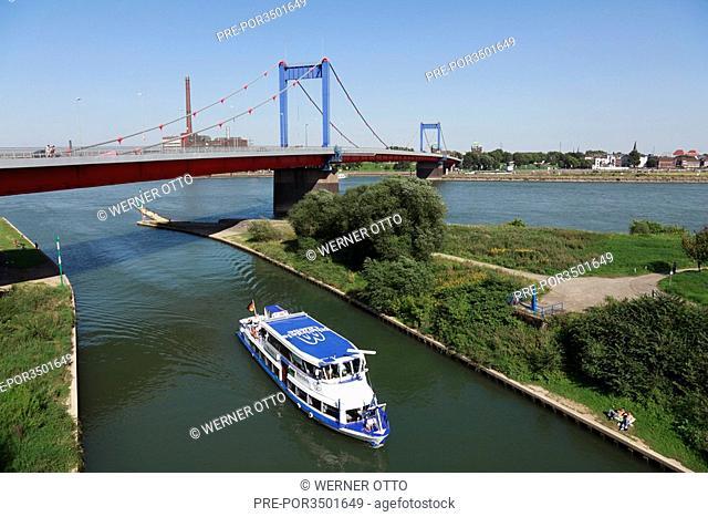 The Friedrich-Ebert-Bridge over Rhine river near Duisburg-Homberg, Rhine-Westphalia, Germany, Europe