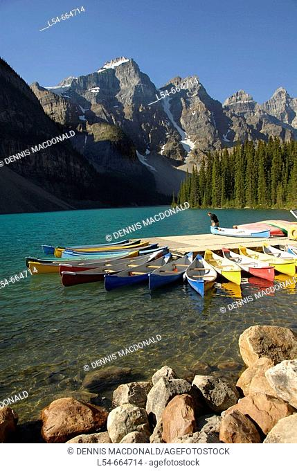 Colorful Rental Canoes at Moraine Lake Banff National Park Alberta Canada Canadian Rockies Canadian Rocky Mountains