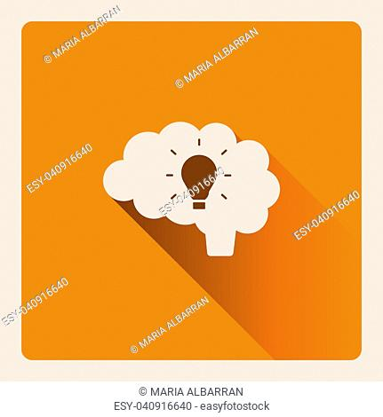 Brain thinking of an idea illustration on yellow square background with shade