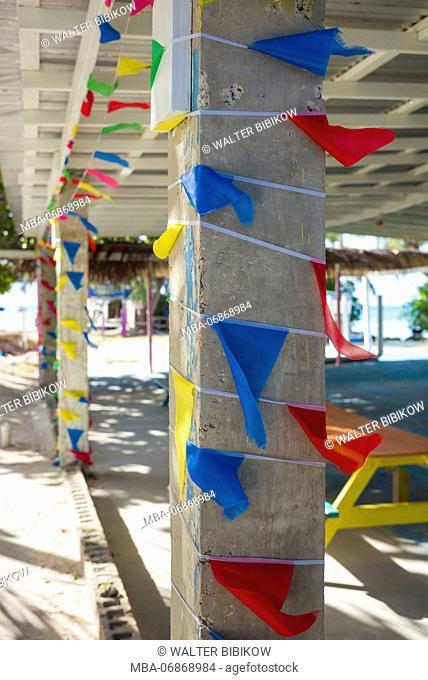 British Virgin Islands, Anegada, Setting Point, beach bar flags