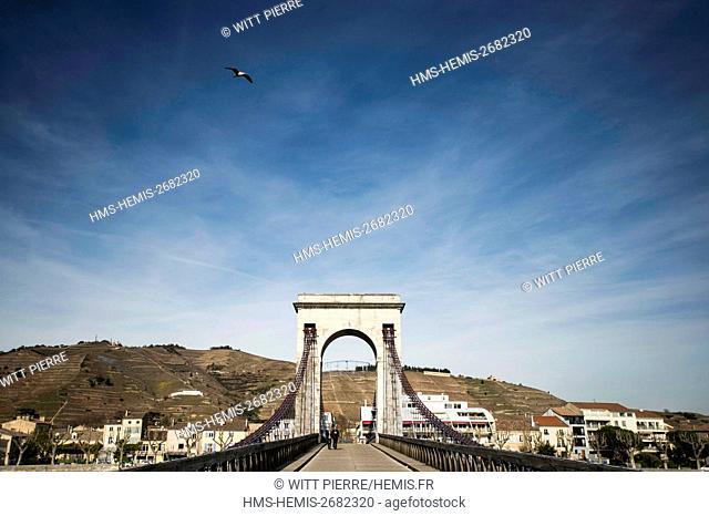 France, Ardeche, Tournus, Rhone valley, The suspension bridge of Marc Seguin, city of Tain ant the Hermitage vineyard