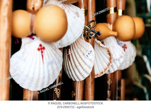 Pilgrim shells and sticks in a souvenirs store in the old town. Santiago de Compostela. Galicia. Spain