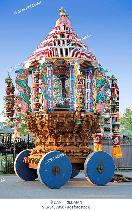 CANADA, SCARBOROUGH, 05.09.2015, Large wooden chariot outside a Tamil Hindu temple. - SCARBOROUGH, ONTARIO, CANADA, 05/09/2015
