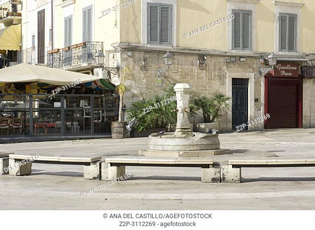 Old town of Bari on July 15, 2018 Puglia Italy. Fountain at Mercantile square