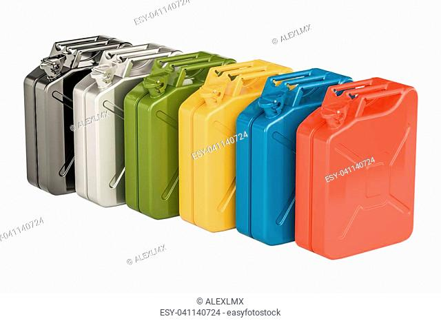 Colored steel jerry cans in row, 3D rendering isolated on white background
