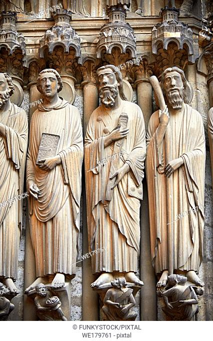 South Porch, central Portal c. 1194-1230, Cathedral of Notre Dame, Chartres, France. Gothic statues of from left to right they are