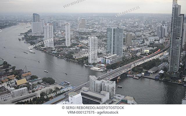 Panoramic viws and landcape of Bangkok from Sirocco rooftop. Thailand. Asia, Bangkok, capital, Centara Grand, Chao Praya River, City, cocktails, dome, Drinks