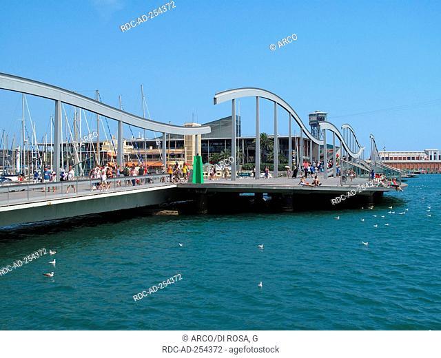 Rambla de Mar footbridge harbour Port Vell Barcelona Catalonia Spain