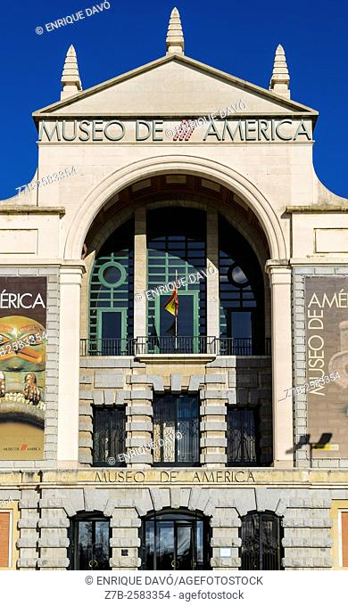 View of the America museum gate in Moncloa quarter, Madrid city, Spain