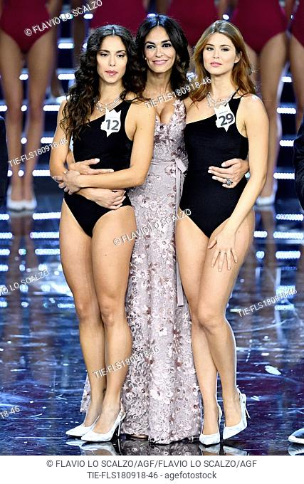 Carlotta Maggiorana winner of Miss Italia 2018, Maria Grazia Cucinotta, Fiorenza D'Antonio at the final of Miss Italia 2018, Milan, ITALY-17-09-2018