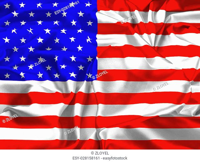 The national flag of USA and heart. I love of USA