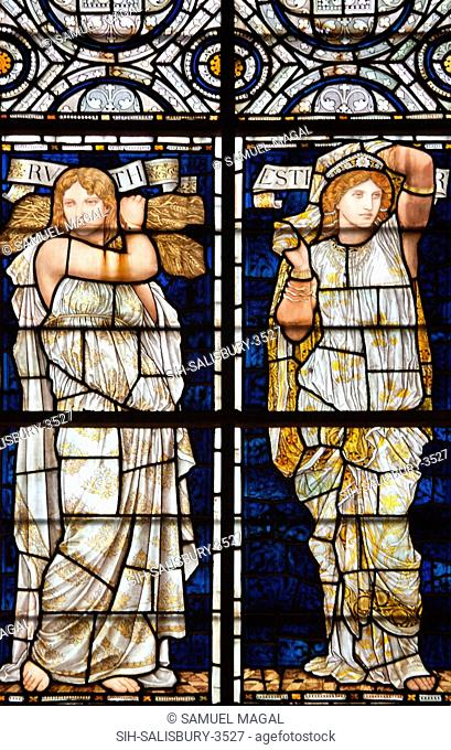 England, Salisbury, Salisbury Cathedral, Stained Glass Window, Ruth and Esther