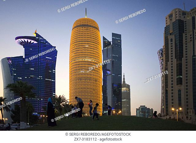 Burj Qatar Building in the financial area of Doha, the capital of Qatar in the Arabian Gulf country