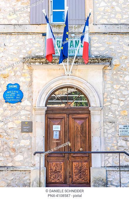France, Drome, The Provencal Baronnies Regional Natural Park, City hall of Mollans-sur-Ouveze