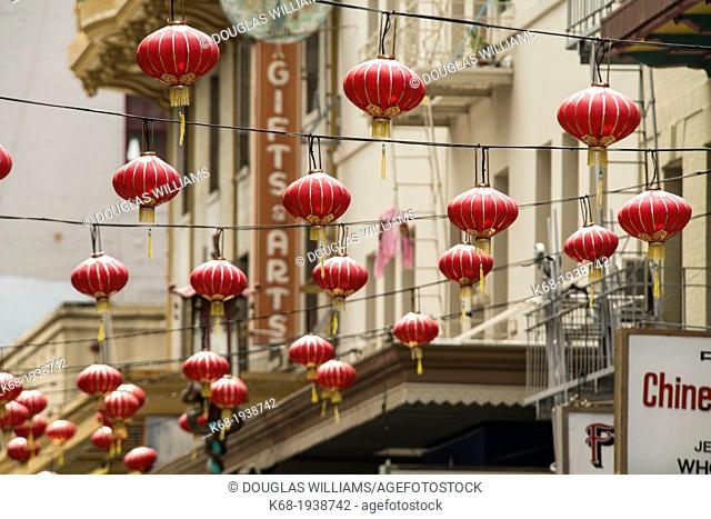 lanterns hang over the street in Chinatown, San Francisco, California, USA