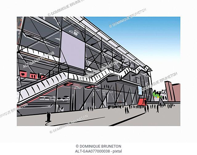 Illustration of the Pompidou Center courtyard in Paris, France
