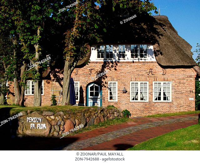 Insel Amrum, Holiday Accomodation Flor in typical frisian house and old chestnut trees in Norddorf on North Frisian Island Amrum, Germany