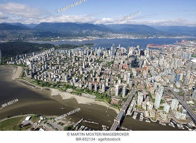 North False Creek and West End, Burrad Bridge, Vancouver, British Columbia, Canada, North America