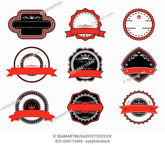 Retro quality labels in black and red colors fot tags, signs or emblems design