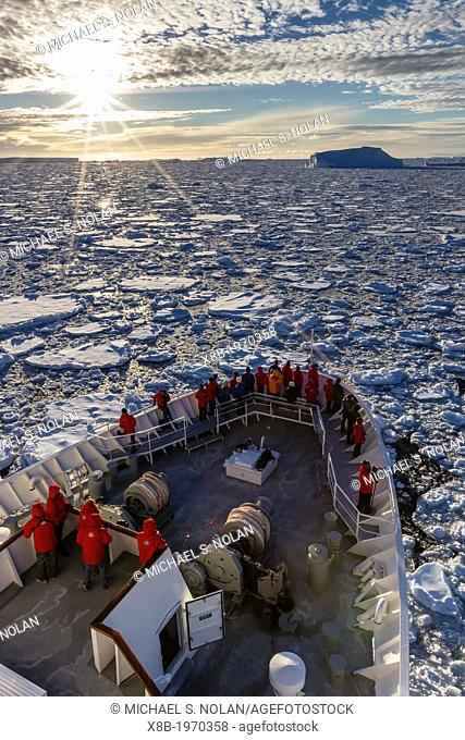The Lindblad Expedition ship National Geographic Explorer on expedition at Pleneau Island in Antarctica, Southern Ocean