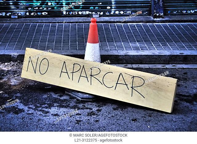 No parking sign. Barcelona, Catalonia, Spain