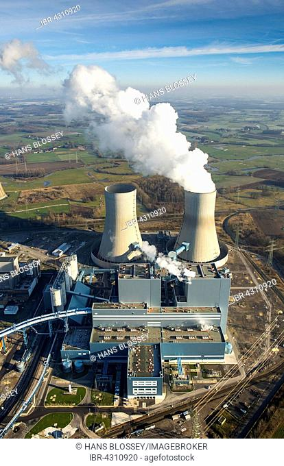 Aerial view, Kraftwerk Westfalen power plant, RWE Power, coal power plant, former nuclear power plant THTR Hamm-Uentrop, Welver, Ruhr district