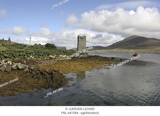 Ruins of tower at riverside, County Mayo, Republic of Ireland
